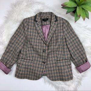 [Talbots] Houndstooth Wool Blazer Owl Interior 14W